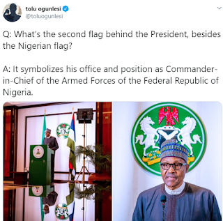 What is the flag behind buhari displayed along with the Nigerian flag when he addressed corona virus issue