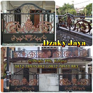 Projek pintu gerbang, pagar dan balkon besi tempa rumah klasik Jakarta Timur