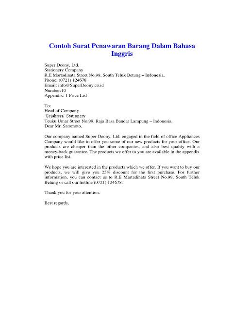 Contoh Surat Penawaran Dalam Bahasa Inggris (via: scribd.com)