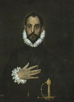 Postal de Museo del Prado, El Caballero de la mano en el pecho, El Greco. Editorial Domínguez.