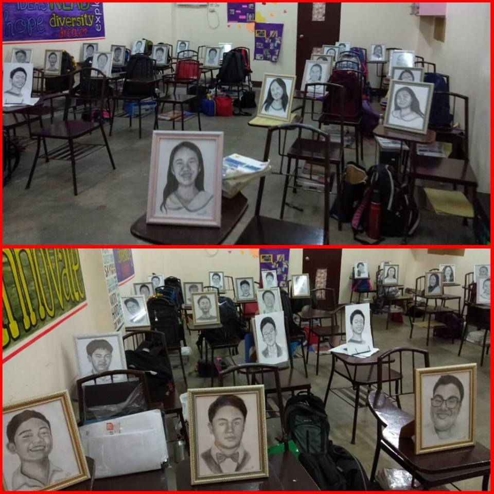 Teacher sketches portraits of her 27 students as Christmas gift