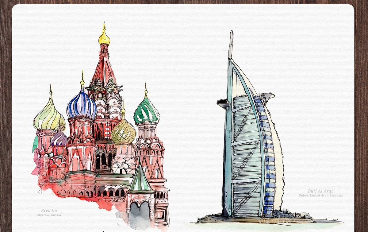05-Kremlin-Palace-and-Burj-Al-Arab-Mucahit-Gayiran-Architectural-Landmarks-Watercolor-Paintings-www-designstack-co