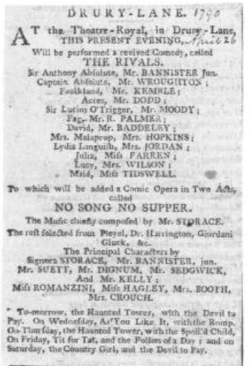 annonce de presse datant de 1790
