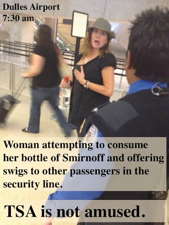 Dulles Airport  Woman attempting to consume her bottle of Smirnoff in TSA security line