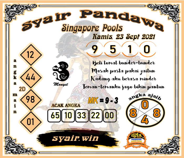 Syair Pandawa SGP Kamis 23-09-2021