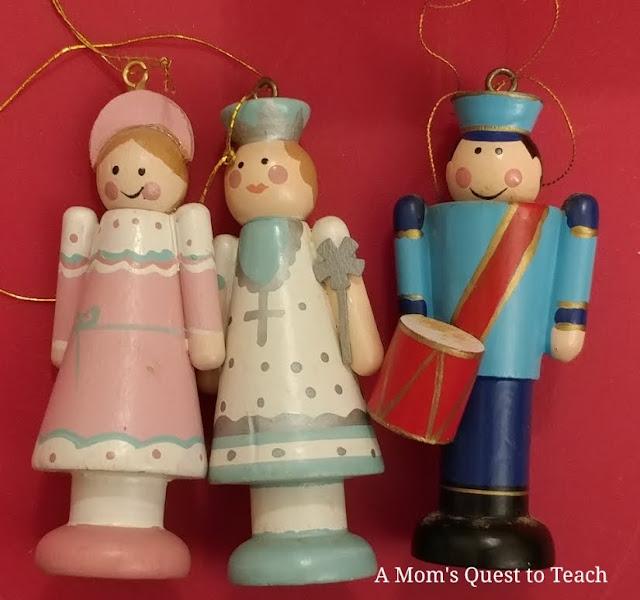 Clara, Sugar Plum Fairy, Nutcracker wooden ornaments