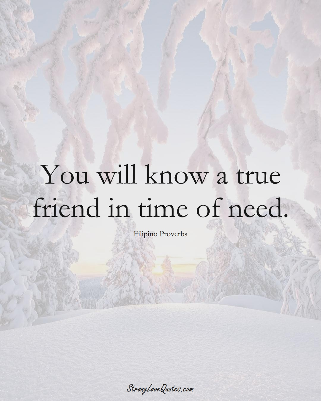 You will know a true friend in time of need. (Filipino Sayings);  #AsianSayings