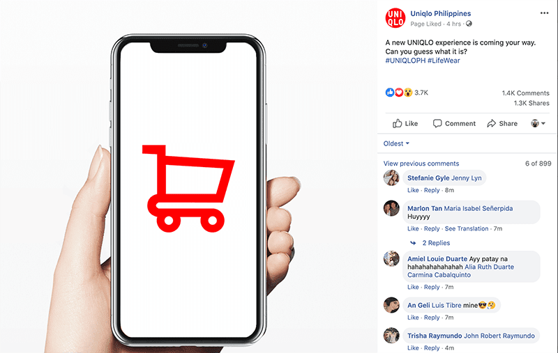 Screenshot of UNIQLO Philippines Facebook teaser post