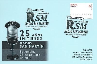 Tarjeta del matasellos de los 25 años de Radio San Martín, Sotrondio