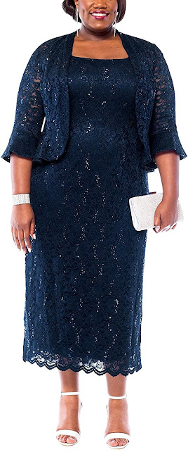 Plus Size Navy Blue Mother of The Bride Dresses