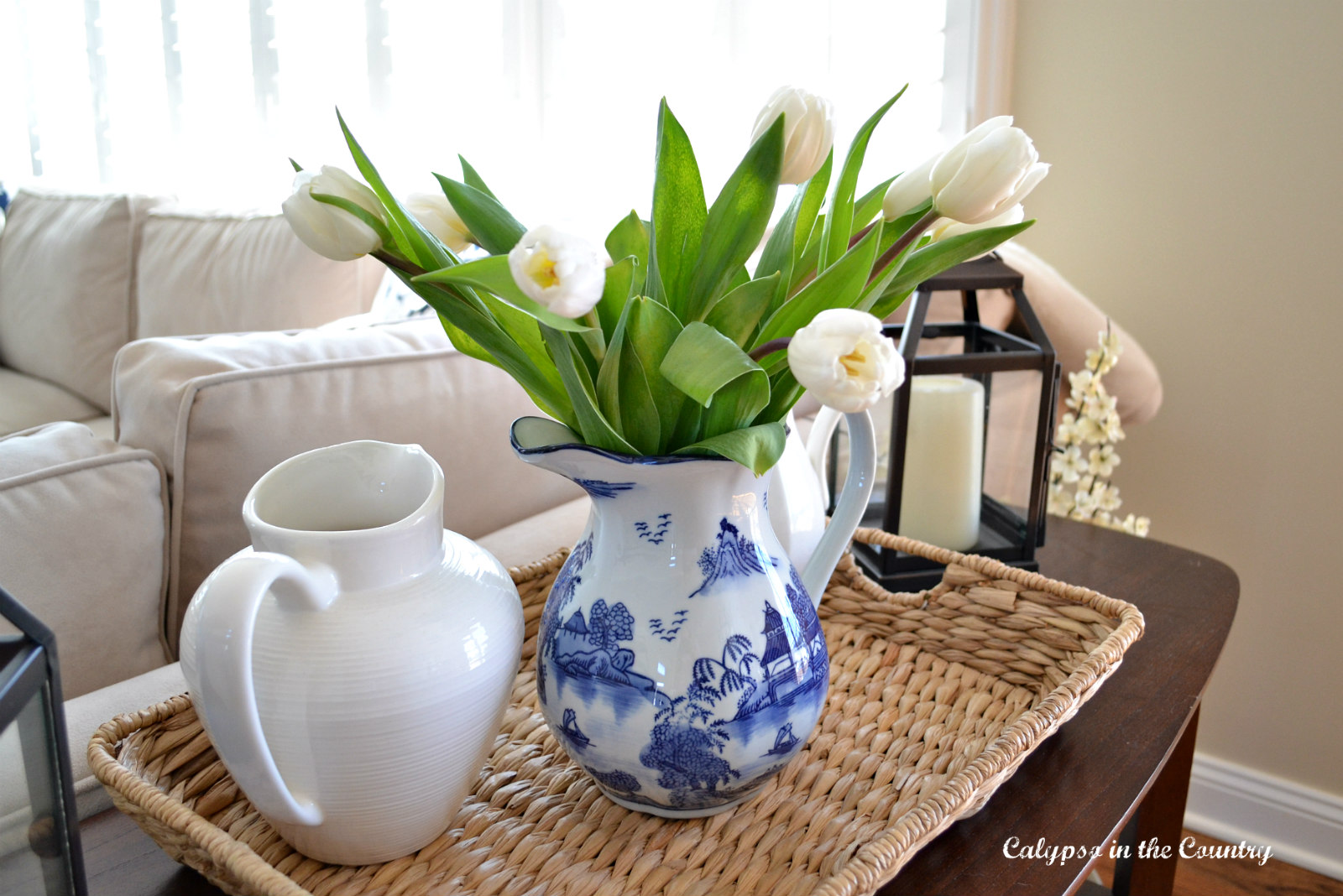 White tulips and spring vignette