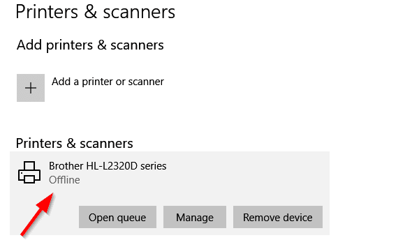 How to change Printer status from Offline to Online in Windows 10