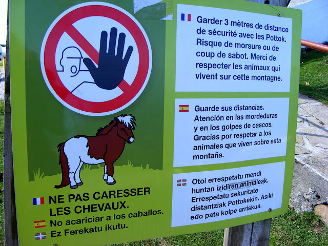 Sign warning you not to come too near the pottokak (wild Basque ponies). Pyrenees-Atlantiques, France. Photographed by Susan Walter. Tour the Loire Valley with a classic car and a private guide.
