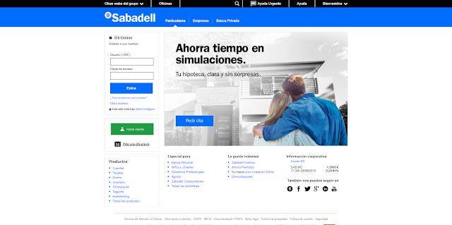 Portada de la web del banco Sabadell