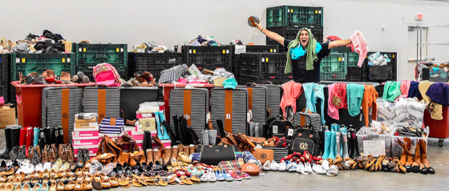 photo of man with tons of blooper items