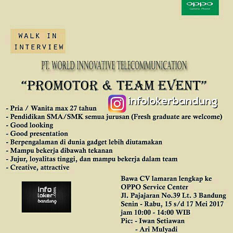 Walk In Interview Oppo Service Center Bandung Mei 2017