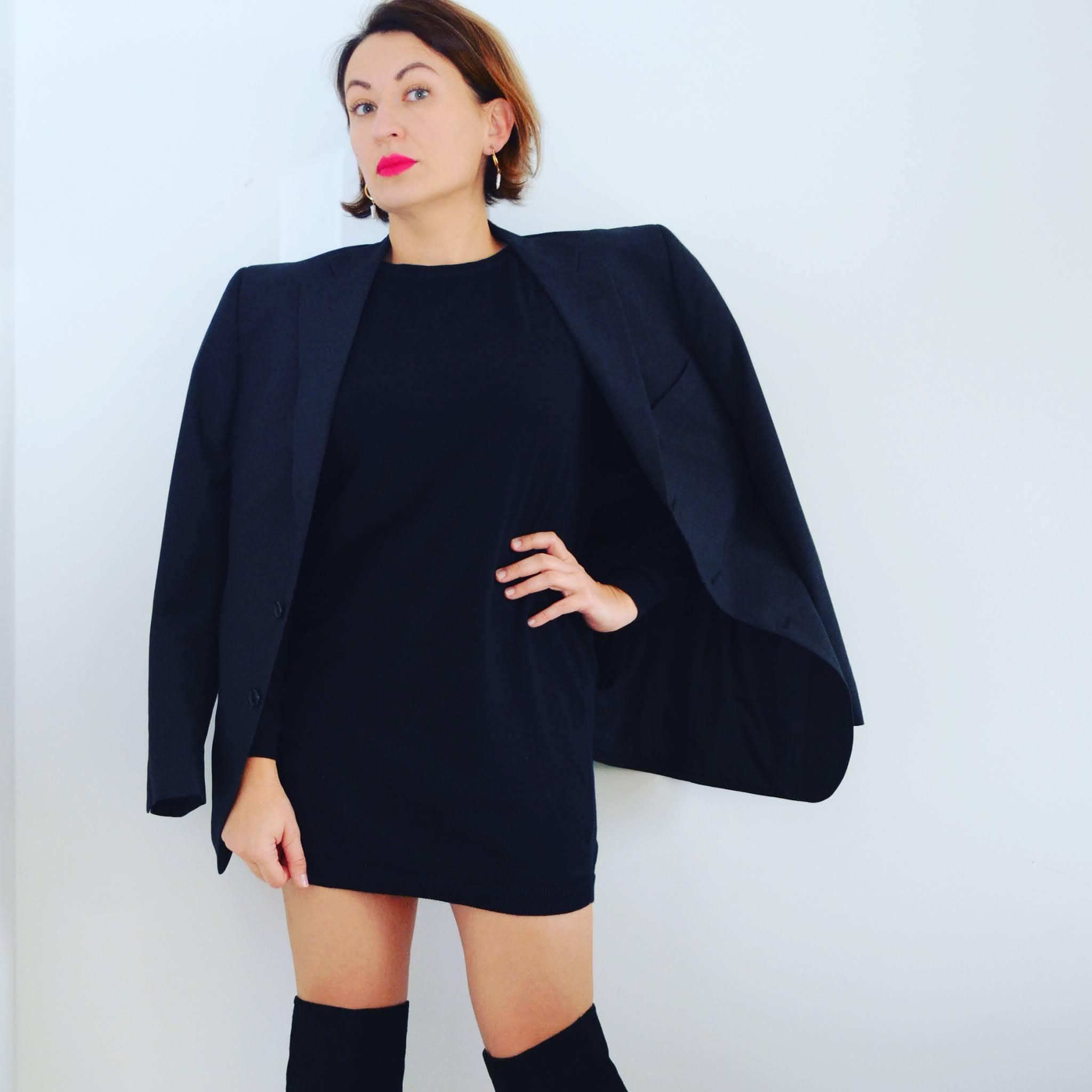 moda,fashion,męska marynarka,kozaki za kolano,dzianinowa mini-sukienka;Marks&Spencer Blazer,Zara Over Knee Boots,Blazer from a man's closet'