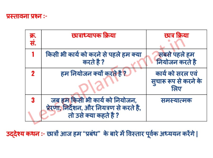 B.ed Lesson Plan For Commerce In Hindi