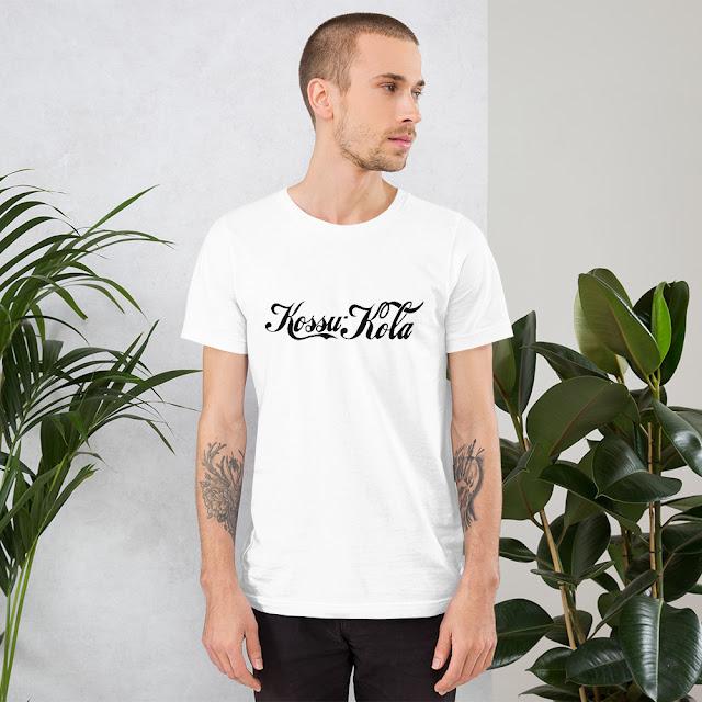 Kossu-Kola t-paita mustalla logolla