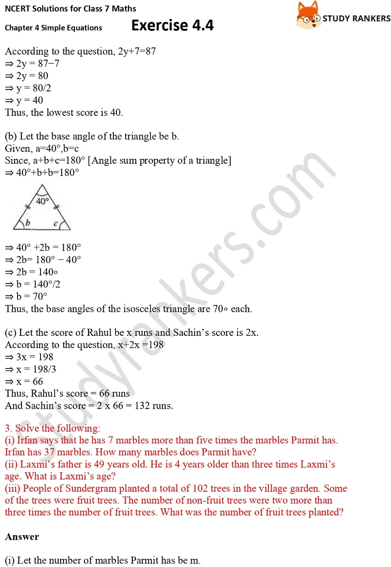 NCERT Solutions for Class 7 Maths Ch 4 Simple Equations Exercise 4.4 3