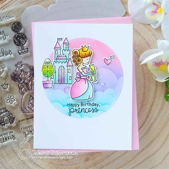 Princess Birthday Card by Tatiana Trafimovich | Once Upon a Princess Stamp Set and Clouds Stencil by Newton's Nook Designs #newtonsnook #handmade