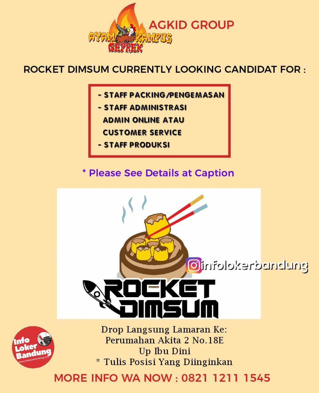 Lowongan Kerja Rocket Dimsum AGKID Group Bandung Februari 2019