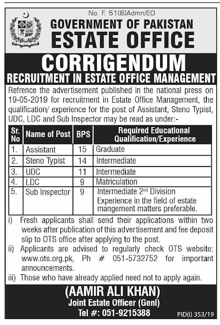 Estate Office Management Latest Jobs 2019