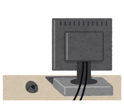 モニターの置かれた机のイラスト