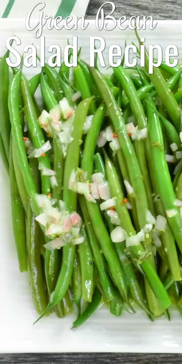 Easy Green Bean Salad recipe with Grainy Dijon Shallot Vinaigrette is a favorite side for Thanksgiving, Christmas, Easter, or a picnic from Serena Bakes Simply From Scratch.