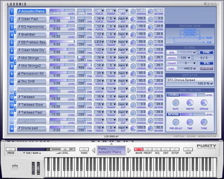 Interface do plugin Purity - LUXONIX