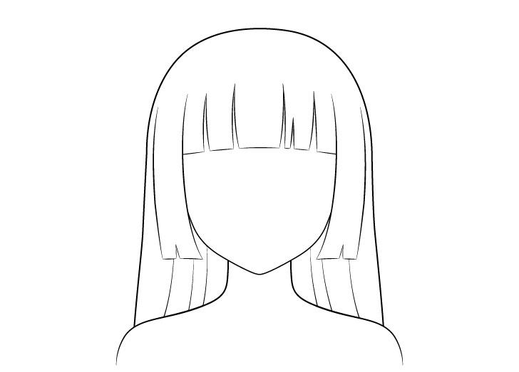 Anime hime memotong gambar garis rambut
