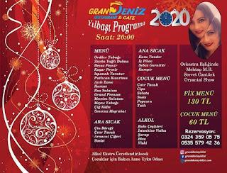 Grand Deniz Restaurant ve Cafe Mersin Yılbaşı Programı 2020 Menüsü