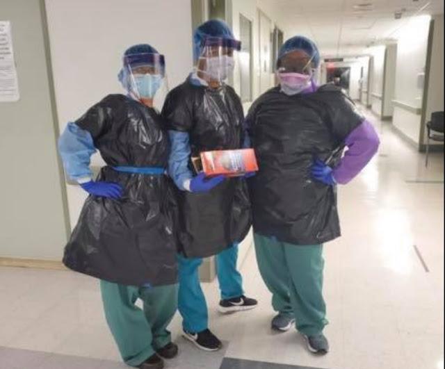 Perawat di New York Pakai Kantong Sampah