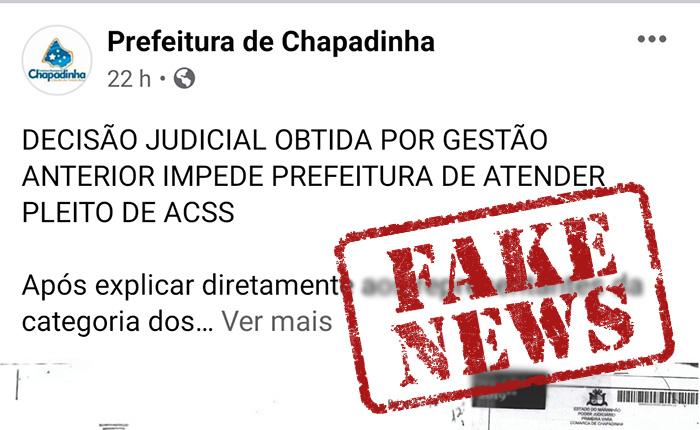 Prefeitura de Chapadinha divulga FAKENEWS