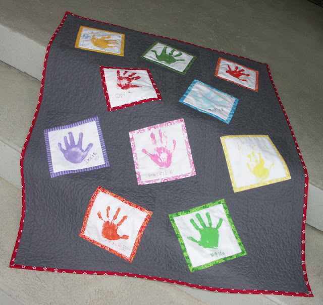 Hand print Quilt for preschool teacher gift