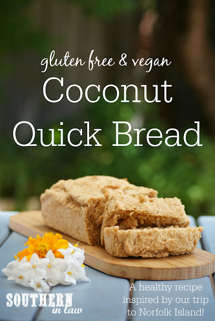 Gluten Free Coconut Quick Bread Recipe - low fat, gluten free, vegan, egg free, dairy free, clean eating, low fat, traditional Norfolk Island recipes