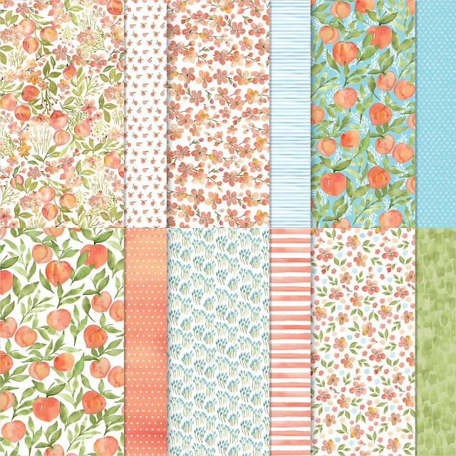Pracht Perzik design papier - Sweet as a Peach dsp