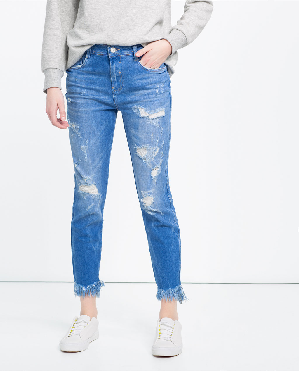 Zara Distressed Frayed Slouchy Jeans Review