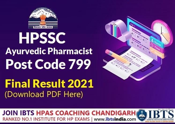 HPSSC Hamirpur Ayurvedic Pharmacist  Post Code: 799 Final Result 2021 (Download PDF)