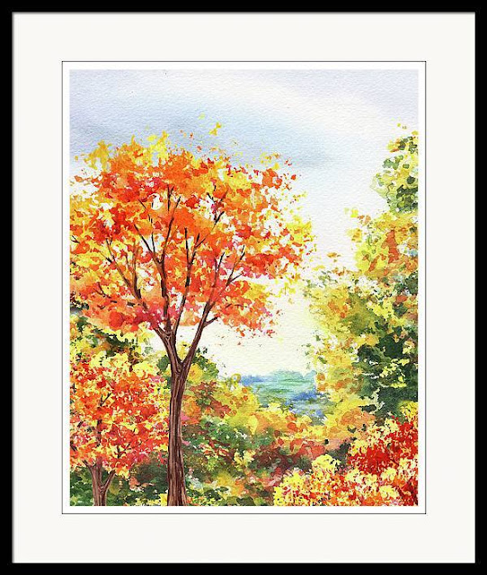 Autumn Fall Trees In The Park Watercolor Landscape by Irina Sztukowski