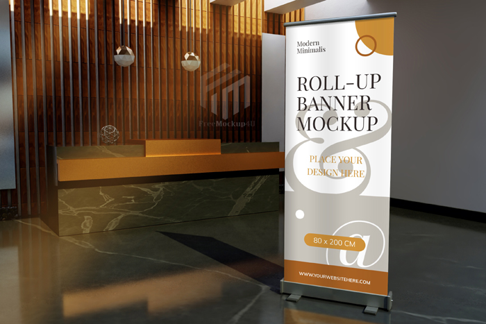 Roll Up Standing Banner Mockup Front Reception Desk Hotel