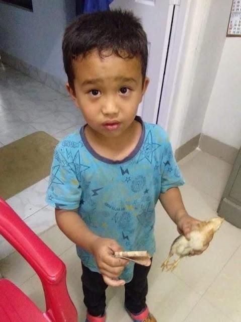 Viral, Bocah Ini Membawa Ayam yang Tak Sengaja di Tabrakmya Ke Rumah Sakit