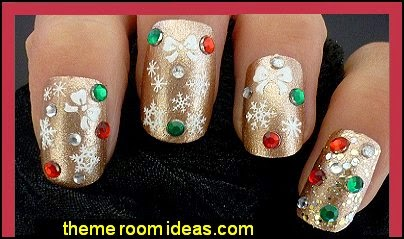 Christmas Snow White Snowflakes & Bows Design 3D Nail Art Stickers Decals