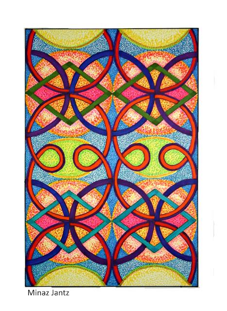 'Kaleidoscope Tango',  Bristol paper, pencil, Copic Markers By Minaz Jantz