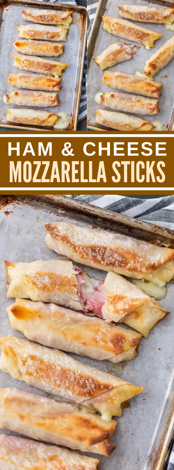 HOMEMADE HAM & MOZZARELLA CHEESE STICKS (BAKED CHEESE STICKS) #appetizers #easyrecipes