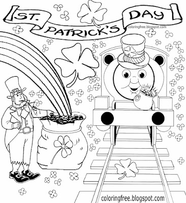 Fun clipart picture Saint Patrick's Day coloring pages Irish train printable for kids drawing lesson