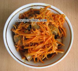морковь с шампиньонами по-корейский