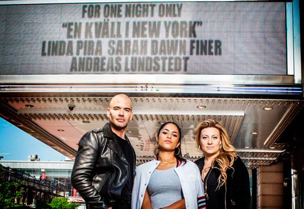Sarah Dawn Finer, Linda Pira y Andreas Lundstedt en En kväll i New York (Photo: SVT)