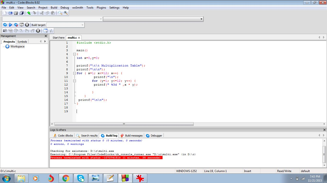 C Program To Print Multiplication Table From 1 To 10 Using