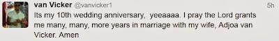 van vicker 10th wedding anniversary